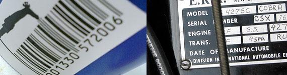 Exemplos de código de barra e número de série.