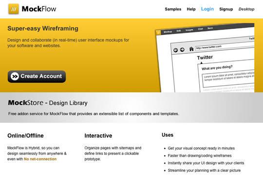 Ferramenta para criação de wireframes: MockFlow