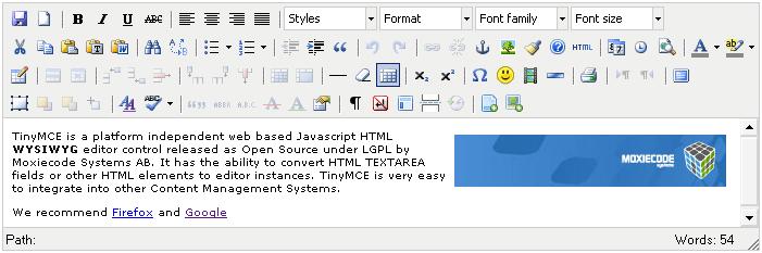 Melhores editores WYSIWYG: TinyMCE