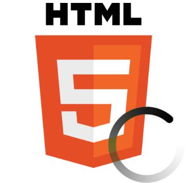 Logo HTML5 com loading, ilustrando função de pré-carregamento de recuros