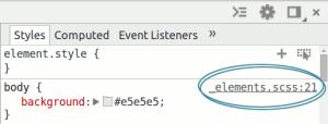 DevTools mostrando arquivo .scss