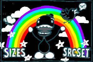 Imagens responsivas com srcset e sizes: arco-íris