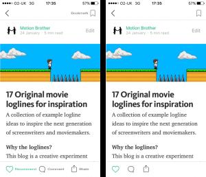 Sugestão de Redução progressiva no app do Medium