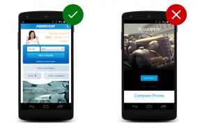 Comparativo de certo e errado em apresentar informações em mobile