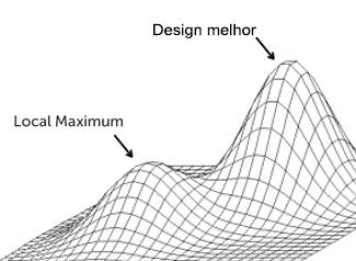 """Gráfico mostrando o Local Maximum e um ponto mais alto, """"Design melhor""""."""