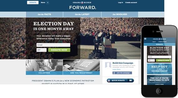 10 dicas para menus responsivos: site Barack Obama.