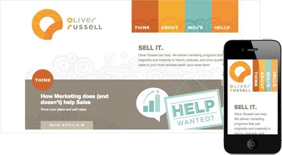 10 dicas para menus responsivos: site Oliver Russell.