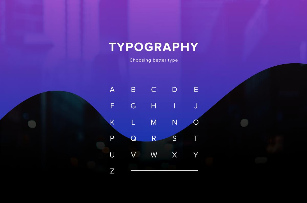 Processo para escolher fontes: imagem bonita com todas as letras do alfabeto