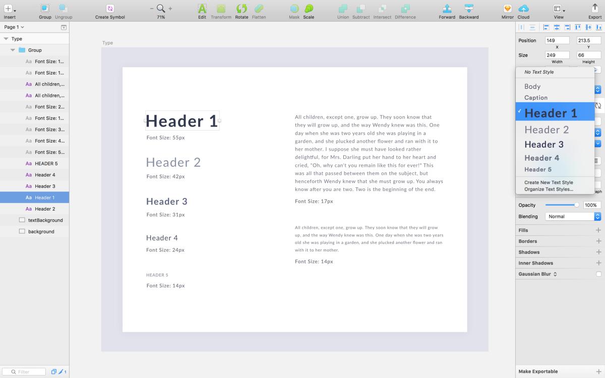 Processo para escolher fontes: screenshot de uma tela do programa Sketch com um style guide de fontes