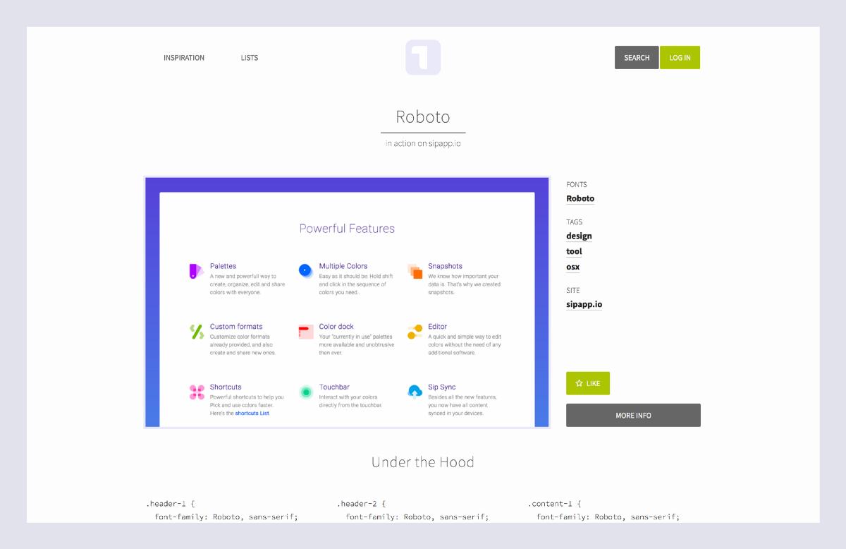 Processo para escolher fontes: screenshot do site Typ.io
