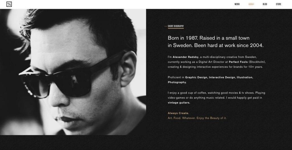 Página sobre do portfolio de Alexander Radsby.
