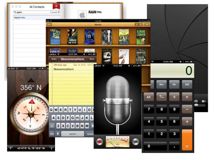 Amostra da interface de alguns programa Mac/Apple.