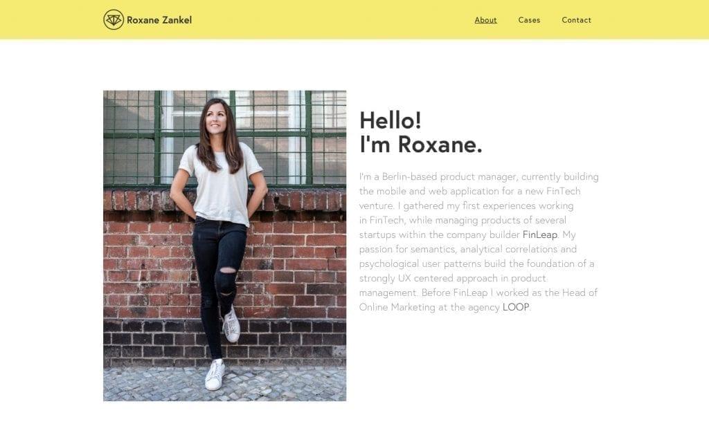 Página sobre do portfolio de Roxane Zankel: foto e apresentação.